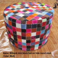 Witbank Mini Block Hair-on Hide Round Stool (Multi)