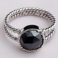 Black Moissanite Diamond Ring