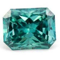 Green Emerald Cut Moissanite Diamond