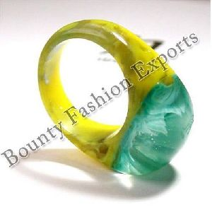 Yellow Green Blue Resin Rings
