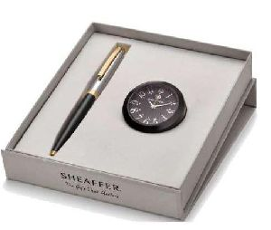 Sheaffer Black Table Clock With Pen