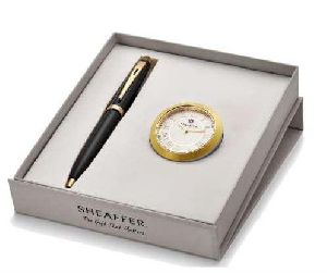 Sheaffer Chrome & Gold Table Clock With Pen