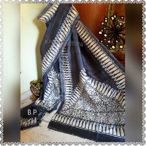 Block and Hand Printed Bishnupur Silk Sarees 01