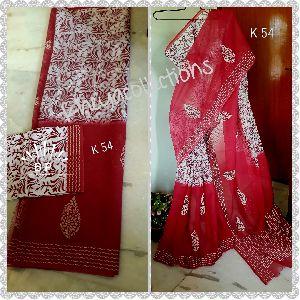 Block and Screen Printed Kota Doria Cotton Sarees 09