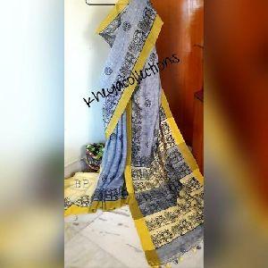 Block Printed Linen Sarees