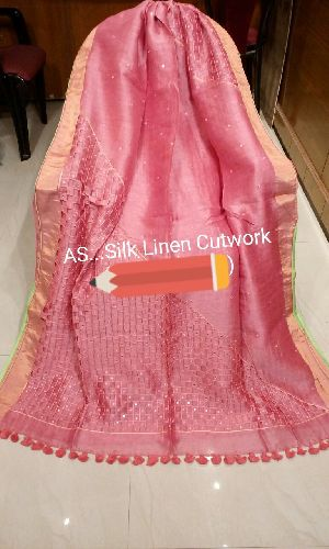 Cutwork Embroidered Linen Silk Sarees