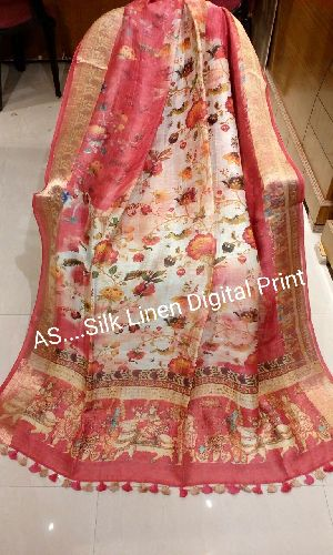 Digital Printed Linen Silk Sarees