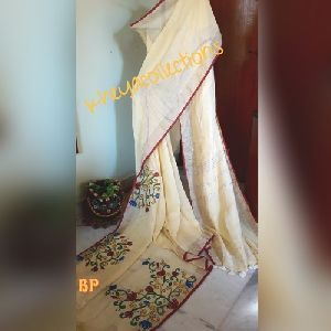 Hand Painted Linen Sarees