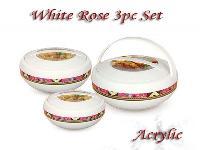 White Rose Acrylic Hot Pot Set