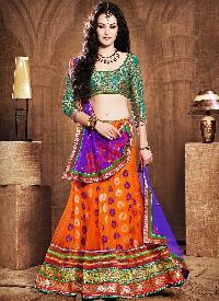 Earthy Orange Net Lehenga Choli