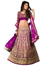 Magenta Latest Indian Designer Wedding Ghagra Choli in Net