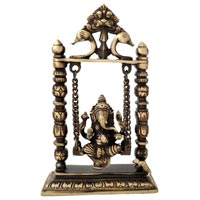 Brass On Swing Ganesha Statue