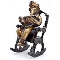 Brass On Chair Ganesha Statue
