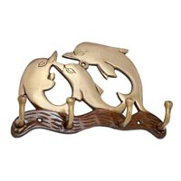 Brass Dolphin Family Key Holder