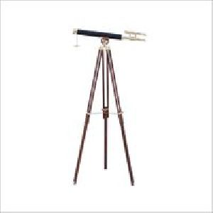Antique Telescope Black Leather With Stand