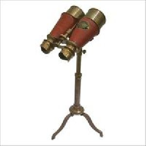 Maritime Nautical Binocular Red Leather With Stand