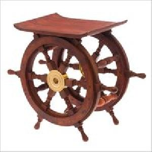 Nautical Brown Wood Ship Wheel Coffee Table