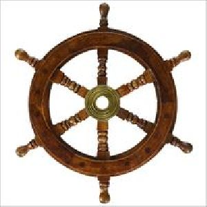 Nautical Ship Wheel Brown Wood