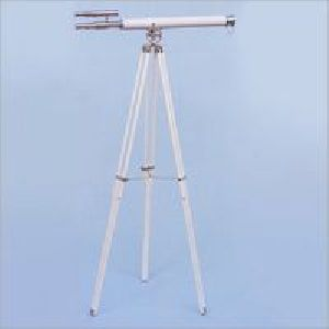 Nautical Telescope White Leather With Stand