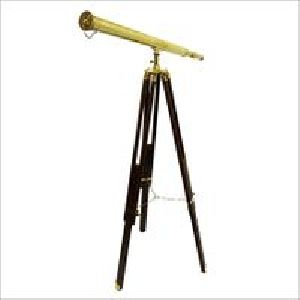Vintage Brass Telescope Brown Tripod Stand