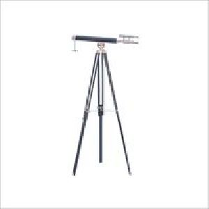 Vintage Telescope Brass Finish Black Tripod Decor