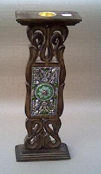 Wooden Pillar Candle Holder 02