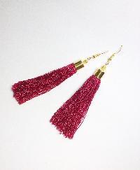 Silk Thread Tassel Earrings