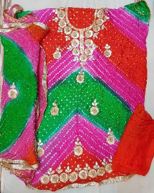 Art Silk Bandhani Dress Material