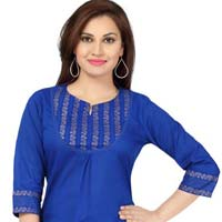 Blazing Blue Printed Cotton Designer Tunic for Women