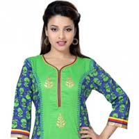 Gracious Grace Green-Blue Indian Fashion Tunic with Printed Design