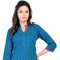 Hues of Blue Cotton Short Tunic for Women