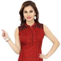 Maroon Masterpiece Short Tunic Top with Pintex and Embroidery Design