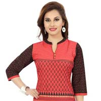 Red Bliss Cotton Short Tunic Dress with Printed Design