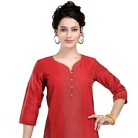 Red Revelation Cotton Silk Tunic for Women