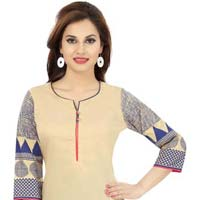 The Beige Blue Play Long Cotton Tunic with Designer Prints