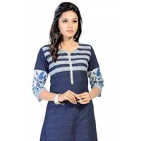 The Blue White Cotton Craze Long Tunic for Women