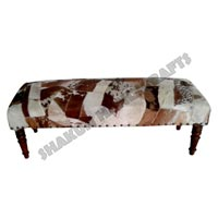 White Coffee Goat Hyde Patchwork Bench (Item Code : BELE07311)