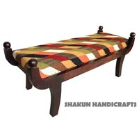 Colourful Reyon Chenille Wooden Bench (Item Code : BEWJ0781)