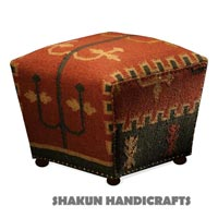 Wool Jute Kilim  Pouf Ottoman (Item Code : BOWJ1631)