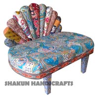 Colorful Pecock Feather Kantha Chair (Item Code : CHCL0612)