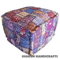 Khamabdiya Handmade Patchwork Pouf (Item Code : POCL0681)