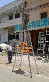 Aluminium Self Support Ladder with Railing 01
