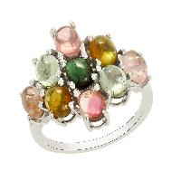 Cluster Multi Tourmaline 925 Silver Jewelry Ring