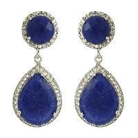 Designer Dyed Sapphire With White Topaz Gemstone Earring