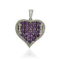 Designer Heart Shape Amethyst With CZ 925 Silver Pendant
