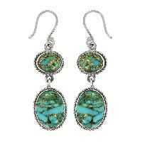 Genuine Turquoise Gemstone 925 Silver Dangle Earring