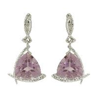 Gorgeous Amehyst with White Topaz Gemstone 925 Sterling Silver Earring