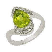 Pear Peridot With White Topaz Gemstone 925 Stering Silver Ring