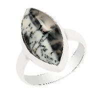 Rare Marquise Dendritic Opal Gemstone 925 Silver Ring