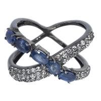 Real Sapphire With CZ 925 Sterling Silvre Cross Ring